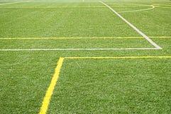 πράσινη σύσταση χλόης ποδοσφαίρου πεδίων ανασκόπησης Στοκ εικόνα με δικαίωμα ελεύθερης χρήσης