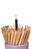 Πράσινη τέχνη περίπτωσης μολυβιών στην άσπρη ιδέα έννοιας υποβάθρου Στοκ Φωτογραφία