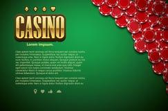 Πράσινη τοπ άποψη θέματος επιτραπέζιων καρτών και τσιπ πόκερ ρεαλιστική Στοκ Εικόνα