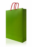 Πράσινη τσάντα αγορών, που απομονώνεται με το ψαλίδισμα της πορείας στο άσπρο backgro στοκ εικόνα