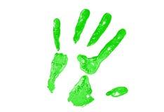 πράσινη τυπωμένη ύλη χεριών Στοκ εικόνα με δικαίωμα ελεύθερης χρήσης