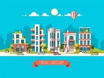 Πράσινη φιλική πόλη ενέργειας και eco Σύγχρονη αρχιτεκτονική, κτήρια, ουρανοξύστες Επίπεδη διανυσματική απεικόνιση τρισδιάστατο ύ ελεύθερη απεικόνιση δικαιώματος