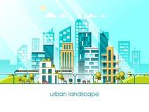 Πράσινη φιλική πόλη ενέργειας και eco Σύγχρονο τρισδιάστατο ύφος απεικόνισης αρχιτεκτονικής επίπεδο διανυσματικό απεικόνιση αποθεμάτων