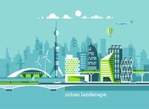 Πράσινη φιλική πόλη ενέργειας και eco Σύγχρονη αρχιτεκτονική, κτήρια, ουρανοξύστες Επίπεδη διανυσματική απεικόνιση διανυσματική απεικόνιση