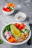 Πράσινη χορτοφάγος σαλάτα κύπελλων του Βούδα με τα λαχανικά και quinoa, σπανάκι, αβοκάντο, αγγούρια, ντομάτες, καρότα, ραδίκια, c Στοκ Φωτογραφίες
