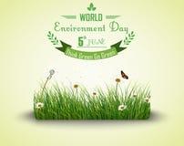 Πράσινη χλόη με το υπόβαθρο λουλουδιών και πεταλούδων για την ημέρα παγκόσμιου περιβάλλοντος διανυσματική απεικόνιση