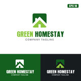 Πράσινη Homestay διανυσματική επιχειρησιακών ιδέα λογότυπων/λογότυπων σχεδίου εικονιδίων στοκ φωτογραφίες με δικαίωμα ελεύθερης χρήσης