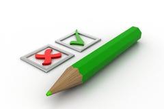 Πράσινοι κρότωνες καταλόγων ελέγχου στα τετραγωνίδια και το μολύβι Στοκ Εικόνα