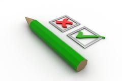 Πράσινοι κρότωνες καταλόγων ελέγχου στα τετραγωνίδια και το μολύβι Στοκ εικόνα με δικαίωμα ελεύθερης χρήσης