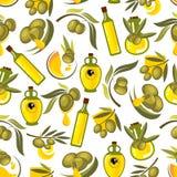 Πράσινοι κλάδοι ελιών και υπόβαθρο ελαιολάδου Στοκ εικόνες με δικαίωμα ελεύθερης χρήσης