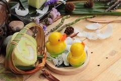 Πράσινοι ρόλοι κέικ που γεμίζουν με την καρύδα Στοκ Εικόνα