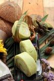 Πράσινοι ρόλοι κέικ που γεμίζουν με την καρύδα Στοκ Εικόνες
