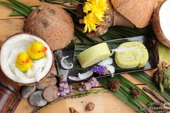 Πράσινοι ρόλοι κέικ που γεμίζουν με την καρύδα Στοκ φωτογραφίες με δικαίωμα ελεύθερης χρήσης