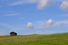 Πράσινοι τομέας και μπλε ουρανός με το σπίτι Στοκ Εικόνες