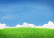 Πράσινοι τομέας και μπλε ουρανός χλόης με τα σύννεφα Στοκ φωτογραφία με δικαίωμα ελεύθερης χρήσης