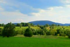 Πράσινοι τομείς στα βουνά Στοκ Εικόνες