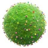 πράσινοι χλόη και πλανήτης λουλουδιών απεικόνιση αποθεμάτων