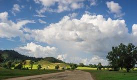 Πράσινοι χλόη και μπλε ουρανός βουνών Στοκ φωτογραφία με δικαίωμα ελεύθερης χρήσης