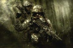 Πράσινοι Berets στρατιώτες στη ζούγκλα Στοκ Εικόνα