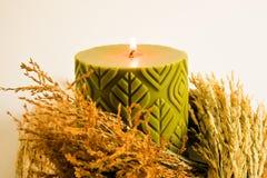 Πράσινοι scented κερί κεριών και μίσχος ρυζιού, χρυσό λουλούδι χλόης Στοκ φωτογραφία με δικαίωμα ελεύθερης χρήσης