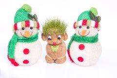 Πράσινοι Teddy και χιονάνθρωπος στοκ εικόνες