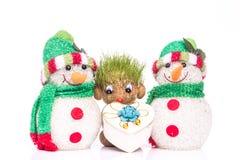 Πράσινοι Teddy και χιονάνθρωπος στοκ φωτογραφία