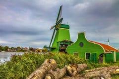 Πράσινος ανεμόμυλος σε Zaanse Schans Στοκ Φωτογραφία