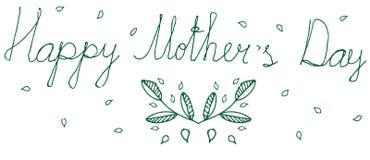 Πράσινος απομονωμένος floral χαιρετισμός της ευτυχούς μητέρας Doodle Στοκ φωτογραφία με δικαίωμα ελεύθερης χρήσης