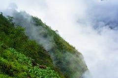 Πράσινος απότομος βράχος βουνών και χαμηλά άσπρα σύννεφα Στοκ Φωτογραφία