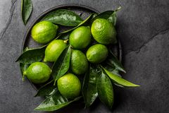 Πράσινος ασβέστης λεμονιών με τα φρέσκα φύλλα στο μαύρο πιάτο, υπόβαθρο πλακών Στοκ Φωτογραφία