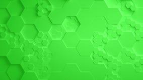 Πράσινος αφηρημένος Hexagon γεωμετρικός άνευ ραφής βρόχος 4K UHD επιφάνειας ελεύθερη απεικόνιση δικαιώματος