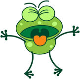 Πράσινος βάτραχος που εκφράζει την αποστροφή Στοκ εικόνα με δικαίωμα ελεύθερης χρήσης