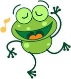 Πράσινος βάτραχος που τραγουδά και που χορεύει Στοκ Εικόνα