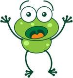 Πράσινος βάτραχος που φαίνεται έκπληκτος και φοβισμένος Στοκ Εικόνες