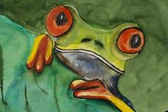 Πράσινος βάτραχος σε ένα χρωματισμένο φύλλο watercolor Στοκ εικόνα με δικαίωμα ελεύθερης χρήσης
