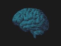 Πράσινος εγκέφαλος με την ψηφιακή σύνθεση κειμένων μέσα Στοκ Φωτογραφίες