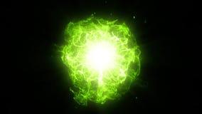 Πράσινος ενεργειακός πυρήνας με το γραφικό στοιχείο κυμάτων και σπινθηρισμάτων απεικόνιση αποθεμάτων