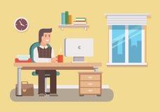 πράσινος εργαζόμενος γραφείων ανασκόπησης απεικόνιση αποθεμάτων