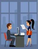 πράσινος εργαζόμενος γραφείων ανασκόπησης business businessman cmputer desk laptop meeting smiling talking to using woman Στοκ Εικόνα
