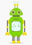 Πράσινος εύθυμος χαρακτήρας ρομπότ κινούμενων σχεδίων Στοκ Εικόνες