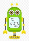 Πράσινος εύθυμος χαρακτήρας ρομπότ κινούμενων σχεδίων Στοκ Φωτογραφίες