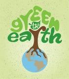 Πράσινος η γη στη μορφή του δέντρου που στέκεται στη γη Στοκ Εικόνα