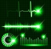 Πράσινος διανυσματικός ψηφιακός εξισωτής, σφυγμός υγιών κυμάτων, όγκος γραφικών παραστάσεων, σύνολο φόρτωσης Στοκ Εικόνα