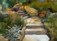 Πράσινος κήπος βημάτων με τα δέντρα, λουλούδια, οι Μπους, πέτρες απεικόνιση αποθεμάτων