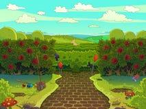 Πράσινος κήπος με τα κόκκινα τριαντάφυλλα, δικαστήριο κροκέ Στοκ εικόνες με δικαίωμα ελεύθερης χρήσης
