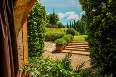 Πράσινος κήπος που κοιτάζει μέσω του παραθύρου στοκ φωτογραφία με δικαίωμα ελεύθερης χρήσης