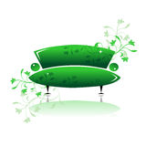 πράσινος καναπές σχεδίο&upsilon Στοκ φωτογραφία με δικαίωμα ελεύθερης χρήσης