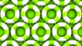 Πράσινος κολυμπήστε τα δαχτυλίδια στο πράσινο υπόβαθρο απεικόνιση αποθεμάτων