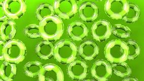 Πράσινος κολυμπήστε τα δαχτυλίδια στο πράσινο υπόβαθρο διανυσματική απεικόνιση