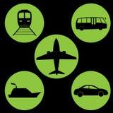Πράσινος κύκλος εικονιδίων ταξιδιού Στοκ φωτογραφίες με δικαίωμα ελεύθερης χρήσης